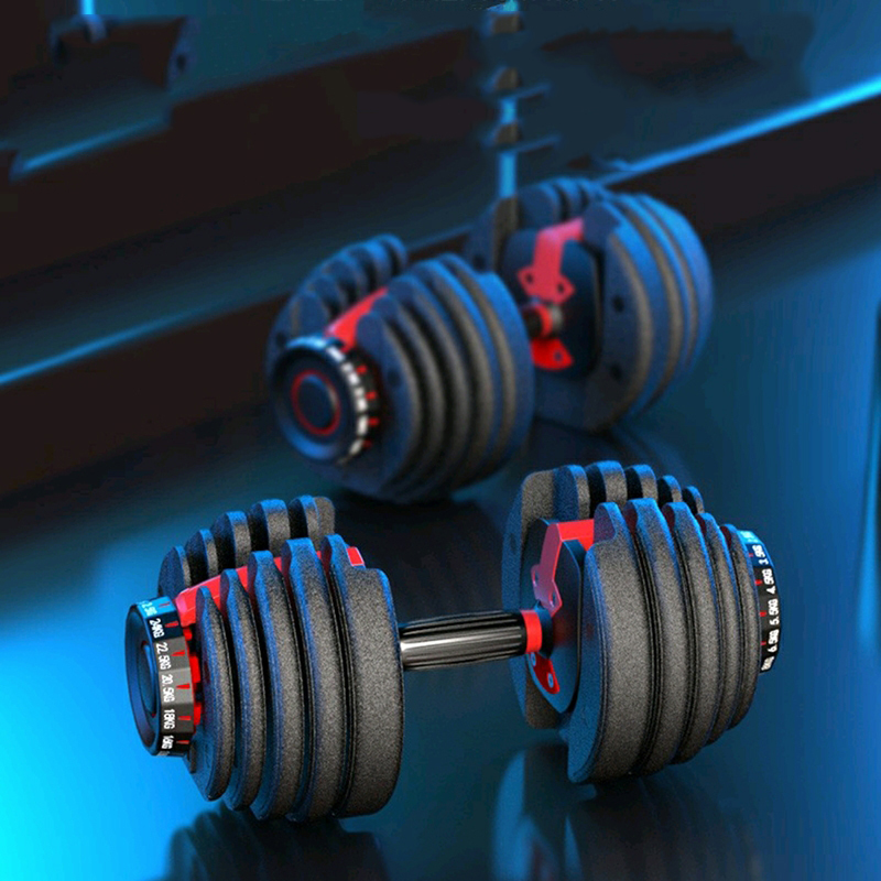 New 24KG 52LBS Gym Adjustable Intelligent Automatic Combination Replacement Dumbbell Set 40KG 90LBS Universal Fitness Equipment