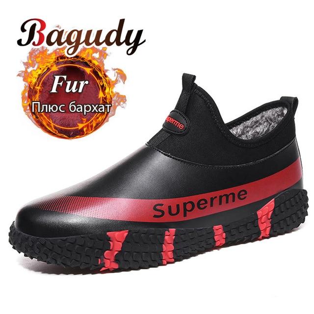 الرجال الشتاء الدافئة أفخم في الهواء الطلق أحذية رياضية موضة حذاء من الجلد مقاوم للماء أحذية رياضية عدم الانزلاق الرجال الشتاء جلد الثلوج الأحذية