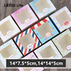 LBSISI Life 5pcs Paper Boxes With Window Cookie Cake Decorating Supplies Christmas Wedding Party Favor Baking Gift Paper Boxes