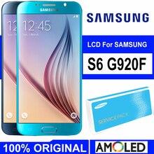 5.1 süper Amoled ekran için çerçeve ile SAMSUNG Galaxy S6 G920 G920F LCD dokunmatik ekran Digitizer meclisi yedek parçalar