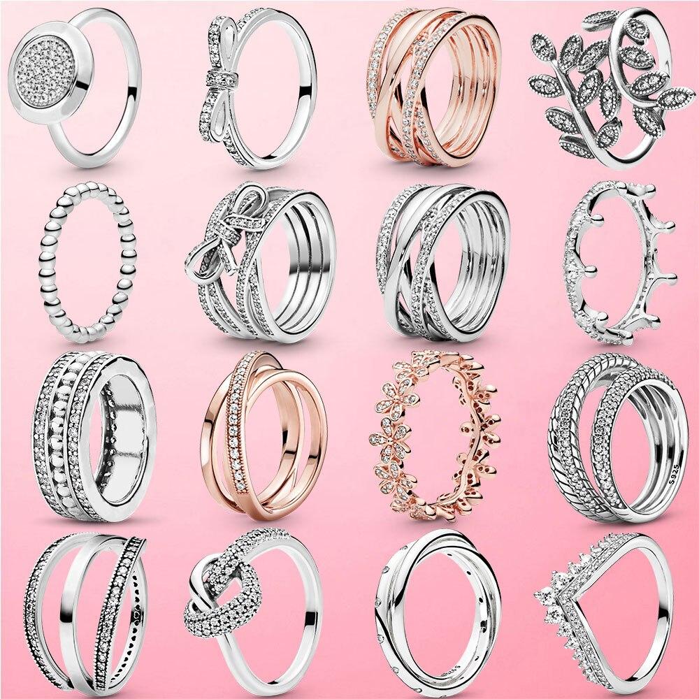Vendita calda anello in argento Sterling 925 impilabile a cuore infinito con fiore margherita per donna anelli in argento 925 originali regalo di gioielli di marca Rings  - AliExpress