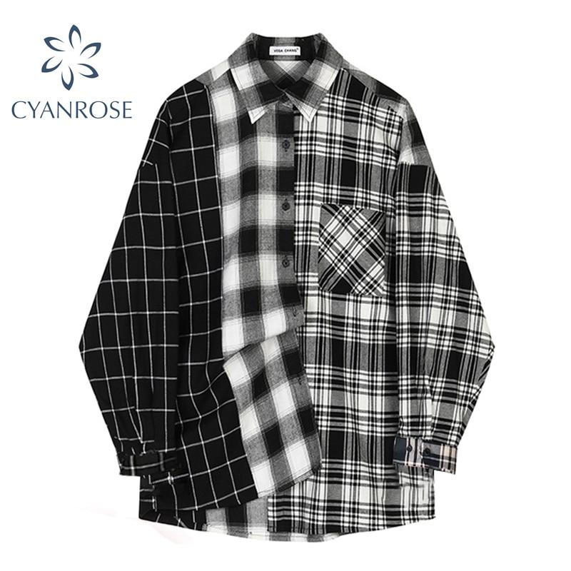 Oversized Plaid Patchwork Blouses Vintage Streetwear Boyfriend Shirt For Ladies Ulzzang Harajuku Long Sleeve 2021 Blusas Tops