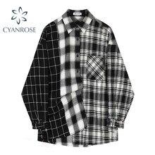 Oversized xadrez retalhos blusas do vintage streetwear namorado camisa para senhoras ulzzang harajuku manga longa 2021 blusas