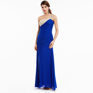 Image 1 - Tanpell long evening dress champagne sleeveless pleats ruched beading floor length dresses women prom one shoulder evening gown
