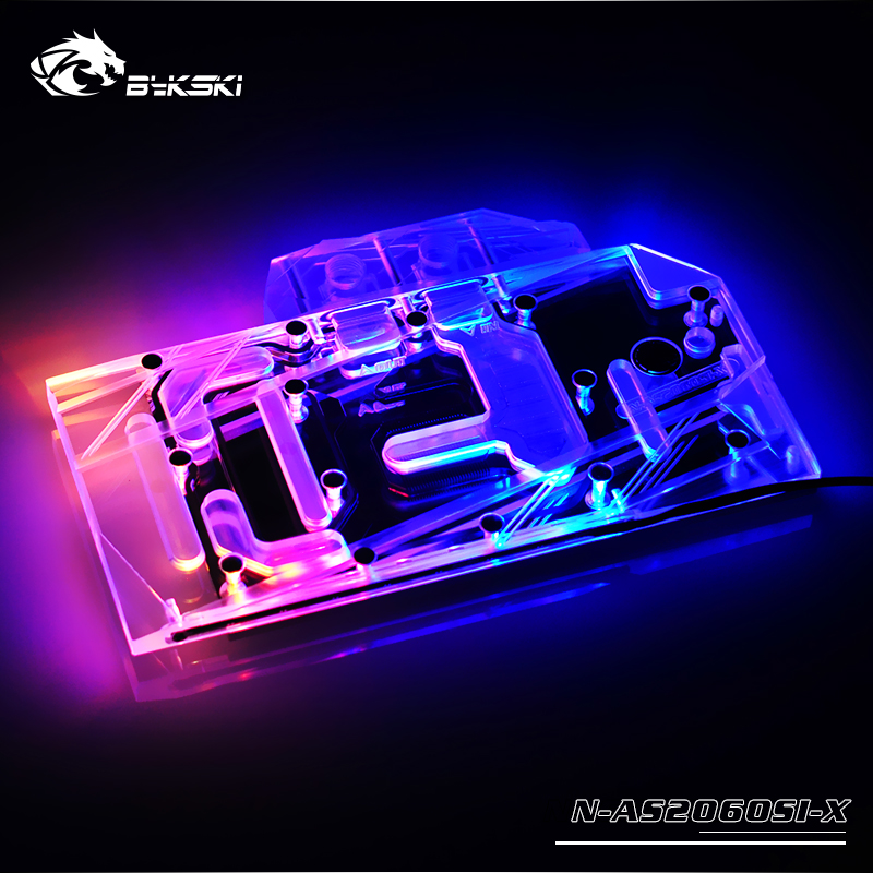 Bykski Water Block Use For ASUS RTX2060 O6G SI / Full Cover Copper Radiator Block / 3PIN 5V A-RGB / 4PIN 12V RGB Light