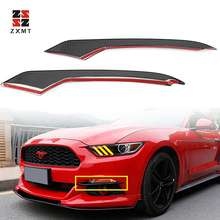 ZXMT Car Styling Black Carbon Fiber Front Head Fog Light Lamp Eyebrow Cover Automobile Bumper Eyelids For Ford-Mustang 2015-2018 цена