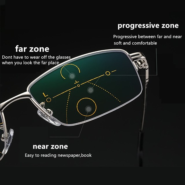 뜨거운 판매 프로 그레시브 독서 안경 Multifocal 안티 블루 레이 유리 안경 절반 프레임 금속 합금 남자 여자 1.5 1.0 2.5 블랙