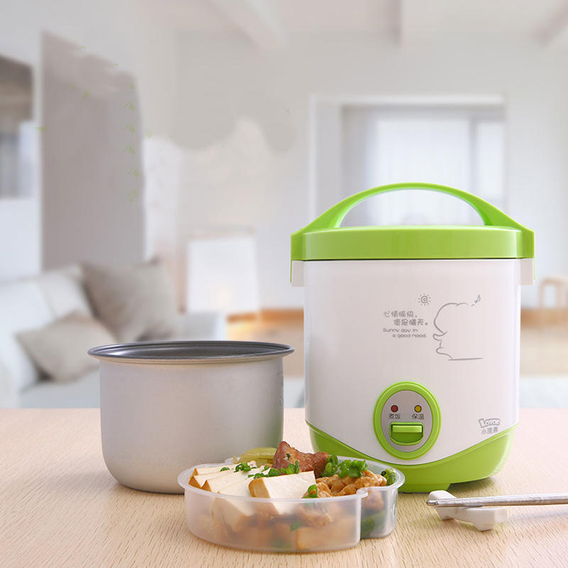 200w power 1L capacity 220V input mini rice cooker lunch box suited for 1-2 people can stew soup , heat lunch box image