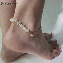 Salircon Creative Meditation Anklet Ornaments Natural Transparent Stone Gold Sliver Alloy Chain Jewelry Accessorie