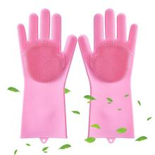 Household Dishwashing Gloves Magic Reusable Silicone Gloves Silicone Cleaning Brush Dish Washing Sponge Gloves for Washing Dish magic cleaning sponge gloves with soft bristles reusable silicone brush heat resistant scrubber gloves for kitchen bathroom