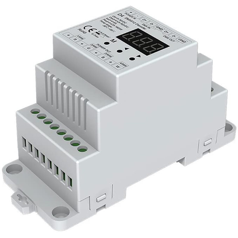 4CH Constant Voltage DMX512 Decoder RGB/RGBW Controller Din Rail Mounted 4 Channel Dimming Controller 5-36VDC