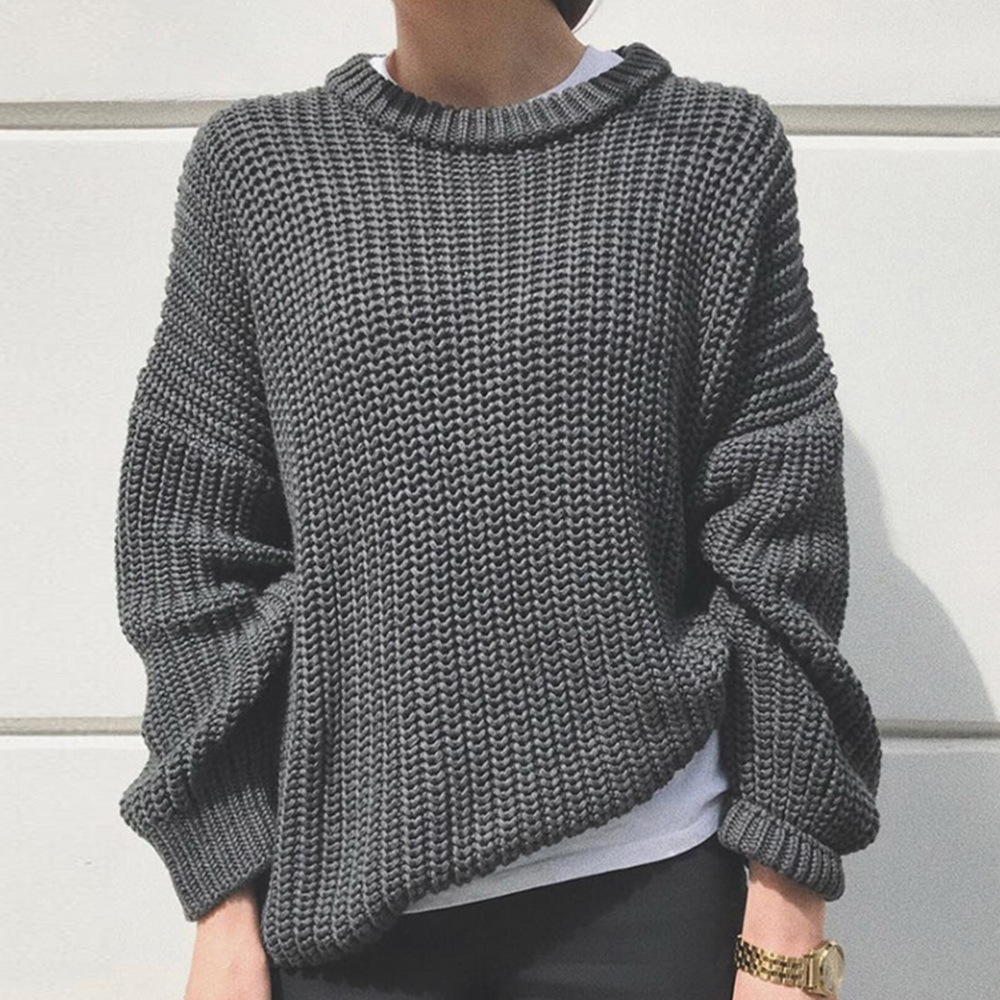 2020 Autumn Women Solid Sweater Elegant O-neck Loose Female Knitted Sweater Casual Long Sleeve Warm Oversized Pullover Jumpers