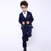 Flower Boys Formal Wedding Suit Kids Birthday Party Jacket Vest Pants Bowtie 4Pc