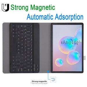 Image 4 - מקרה עבור Samsung Galaxy Tab S6 10.5 מקלדת מקרה T860 T865 SM T860 כיסוי רוסית ספרדית אנגלית Bluetooth מקלדת Funda מקרה