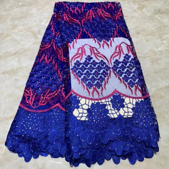 Blue The Latest African Lace Fabrics High Quality French Lace Pearls Tulle Embroidered African Nigerian Lace Fabric Party Dress