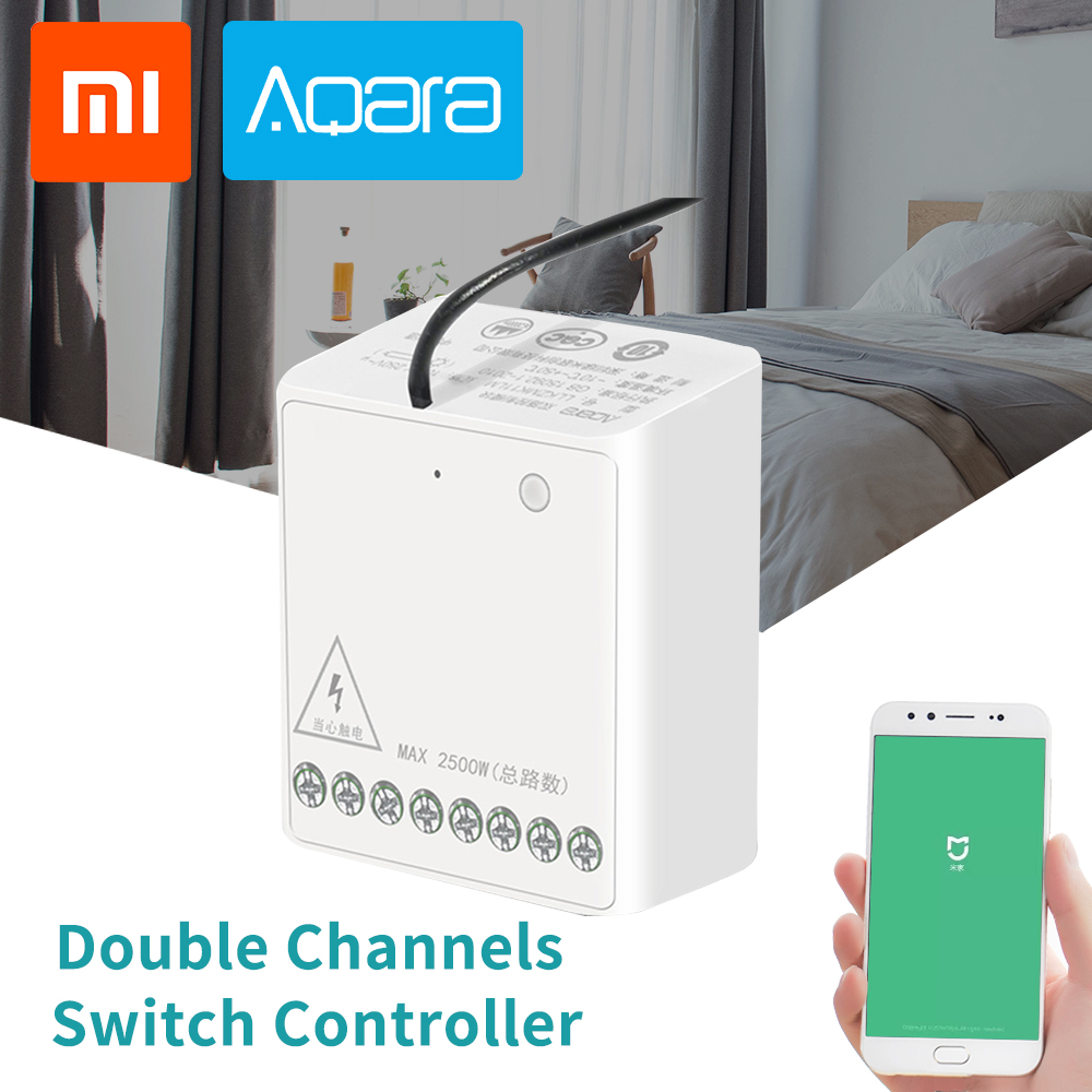 Xiaomi Aqara Wireless Relay Module Two-way Control Security Smart Light Double Channels Switch Controller For Mi Home App IOS
