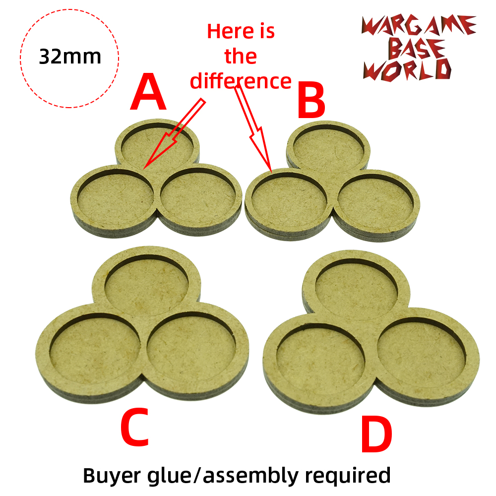 Wargame <font><b>Base</b></font> World - Movement Tray - 3 <font><b>round</b></font> <font><b>32mm</b></font> - 3 sets image