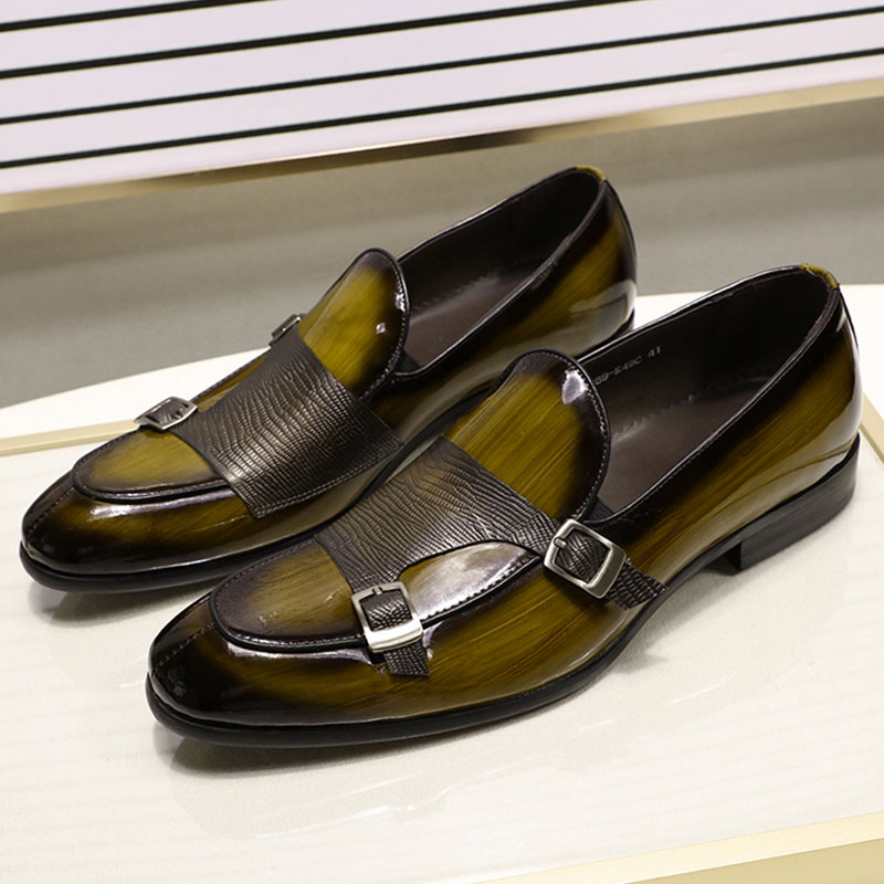 FELIX CHU Brand Patent Leather Mens Loafers Wedding Party Dress Shoes Black Green Monk Strap Casual Fashion Men Slip On Shoes
