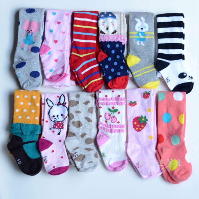 3pairs/Pack 1-8y Baby Cotton Pantyhose Kid's Tights Baby Stockings Children Tights Girls Striped Tights Color Random Delivery 5