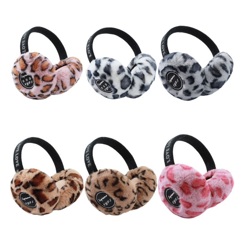 Women Winter Bluetooth Earmuffs Plush Leopard Wireless Earphone Music Ear Warmer