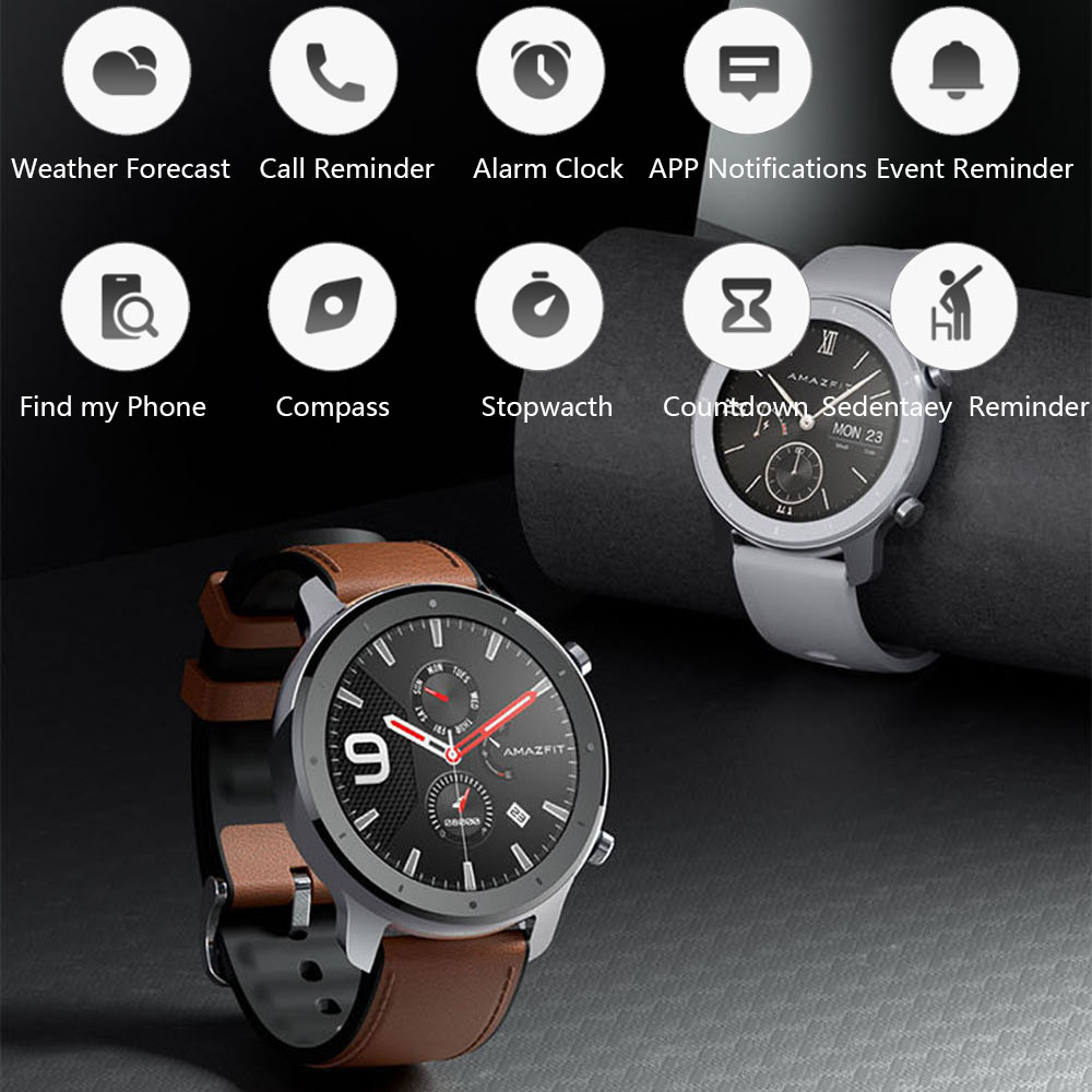 Image 3 - Amazfit GTR 47mm Smart Watch Xiaomi Huami 5ATM Waterproof Sports Smartwatch 24 Days Battery Music Control With GPS Heart Rate-in Smart Watches from Consumer Electronics