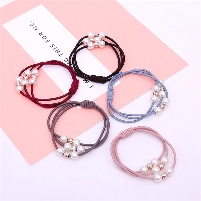 2019 Fashion Multi-Layer Pearl Hair Rope Solid Color Elasticity Hair Ring Hairband Hair Accessories Beauty Durable Practical.