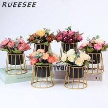 Искусственные цветы маленькая Роза Nordic простой золотыми полосами, растения в горшках дома гостиная обеденный стол комплект цветочной одеж...