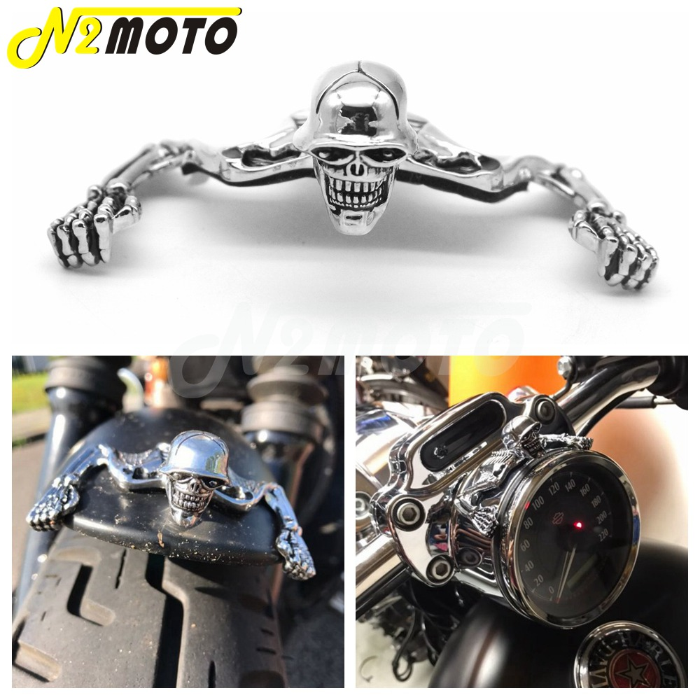 Chrome Highway Hawk Skull Ornament Visor For Harley Softail Bobber Chopper 7