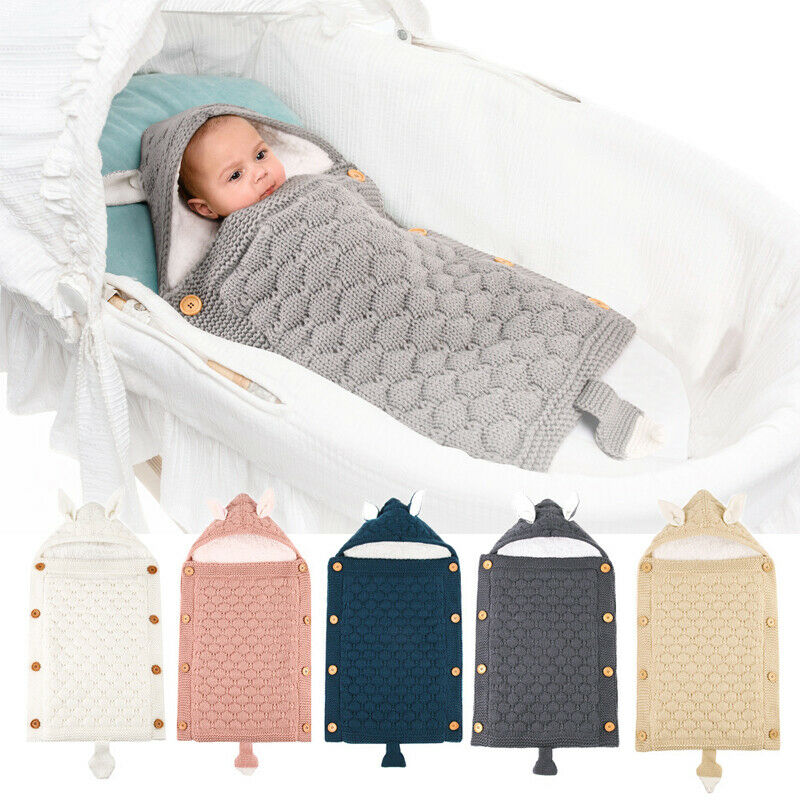 Fancy New Arrival Newborn Toddler Baby Fleece Blanket Sleeping Bag Knit Crochet Winter Warm Swaddle Wrap Rabbit Ear Sleeping Bag