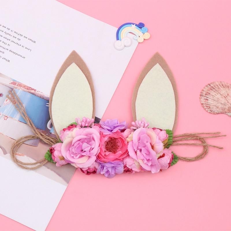 New Easter Children's Hair For Kid's Party Simulation Rabbit Ears Head Belt Hemp Rope Baby Photo Props Anniversaire Enfant
