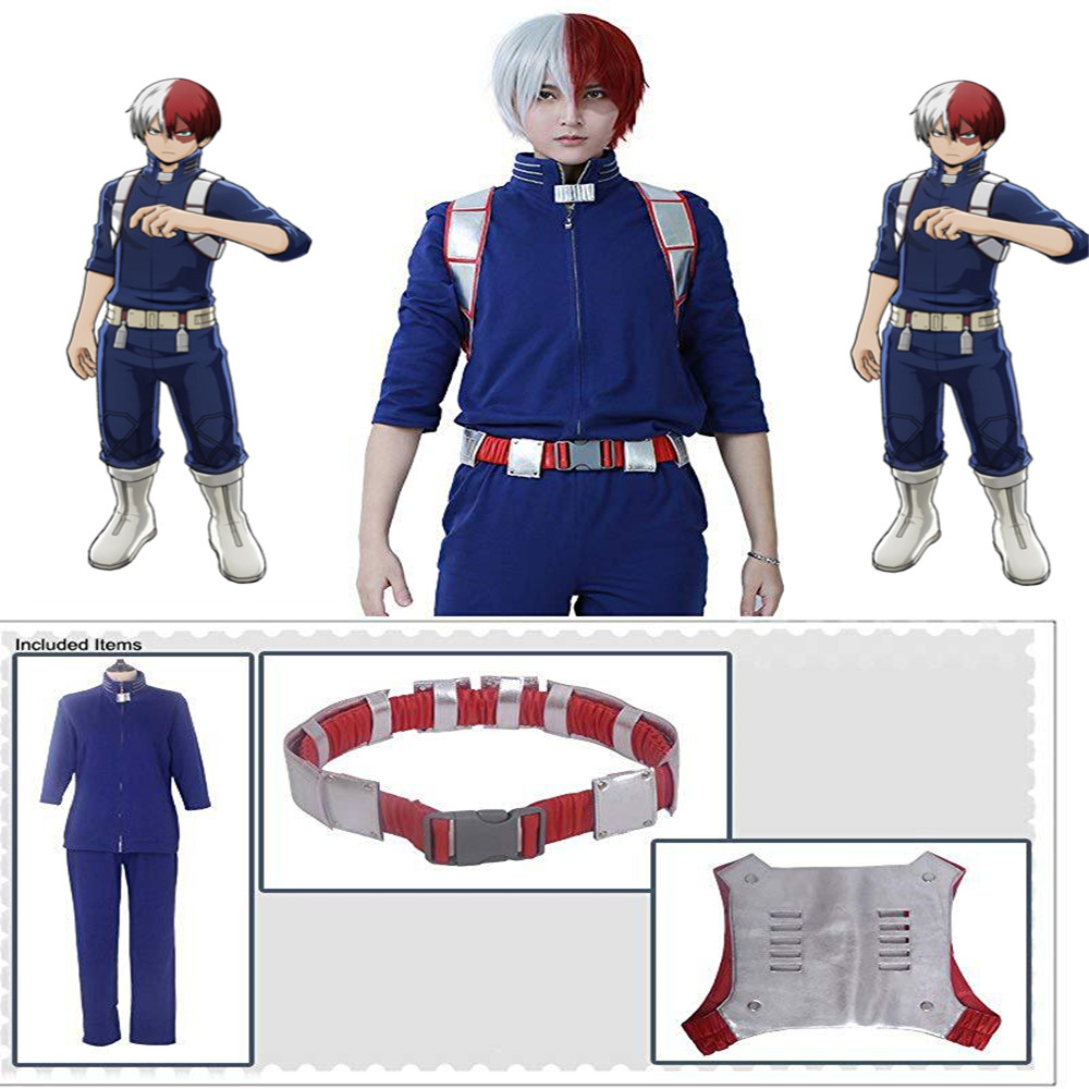 Anime Boku no Hero Academia Cosplay Costume My Hero Academia Todoroki Shoto Jumpsuits Rompers uniform Cosplay Halloween Costume