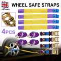 New Set 4pcs Car Trailer Transporter Recovery Ratchet Alloy Wheel Safe Straps Set Purple for Car Interior Accessories
