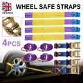 Nouveau ensemble 4 pièces voiture remorque transporteur récupération cliquet alliage roue sécurité sangles ensemble violet pour voiture intérieur accessoires