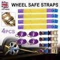 Nuevo juego 4 Uds remolque de coche transportador de recuperación de trinquete de aleación juego de correas seguras púrpura para accesorios interiores de coche
