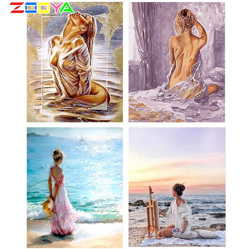 ZOOYA 5D алмазная вышивка, сексуальные женские речные поделки, полностью Алмазная мозаика, картины, вышивка для декора домашних стен R17924 Алмазная роспись, вышивка крестом      АлиЭкспресс