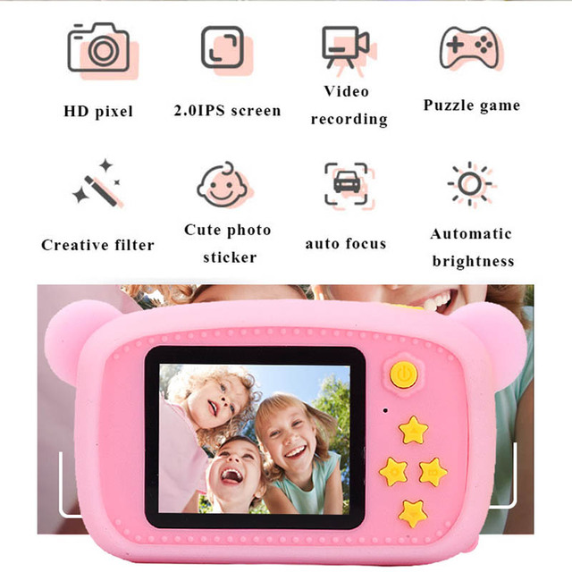 HobbyLane Portable Children 1300W HD Digital Camera Cute Cartoon Bear Shape 2 Inches IPS Screen Mini Camera Toy Gift For Kids 2