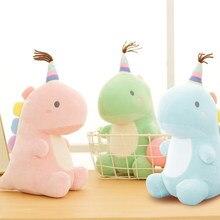 Peluche de dinosaurio para bebé, juguete Adorable de peluche suave y Adorable para niños (rosa, azul, verde)