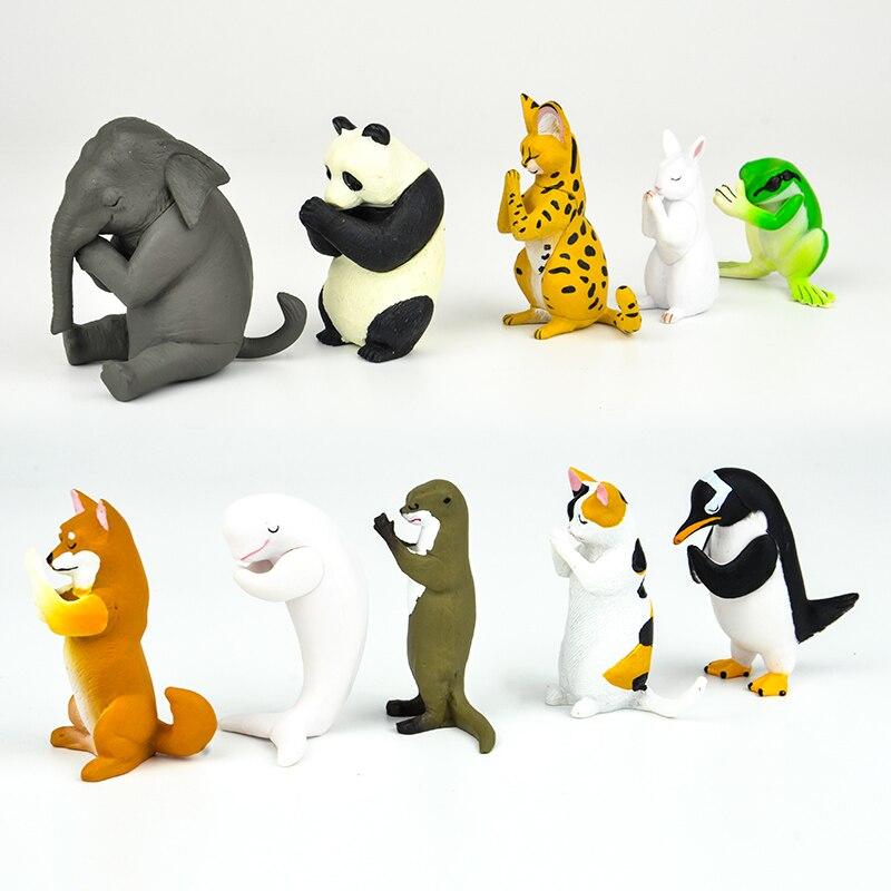 Japanese Capsule Toy Funny Animals Cut Shiba Inu Japanese Calico Cat Otter Penguin White Whale Gassho For Pray Gashapon Figure