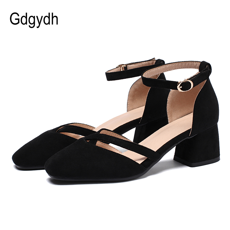 Gdgydh D'Orsay Cheap Female Shoes Heels 2020 Spring Summer Ladies Office Shoes Fashion Comfortable Mid Heel Flock Black Big Size