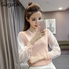 Gagaok Women Knitted Mesh Stitching Sweater Spring Autumn New Solid O-Neck Full Lace Up Office Lady Slim Wild Female Pullover