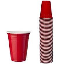 100 sztuk zestaw 450Ml czerwony jednorazowy kubek z tworzywa sztucznego kubeczek imprezowy Bar restauracja dostarcza artykuły gospodarstwa domowego artykuły gospodarstwa domowego wysokiej jakości tanie tanio CN (pochodzenie) 95mm 63mm 120mm