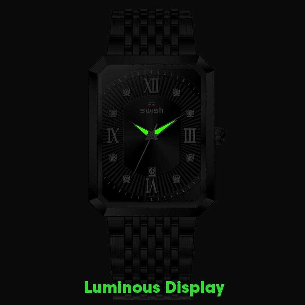 Black Watches for Men Warterproof Mens Watch Top Brand Luxury Clock Male Rectangle Business Quartz Wristwatch Relogio Masculino 3