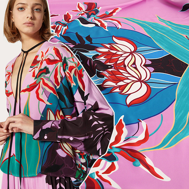 145 * 100cm Show Printing Fabric For Dress 2020 Spring and Summer Holiday Wind Plant Graffiti Celebrity Inspired DIY Cloth