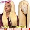 13x6 스트레이트 레이스 프런트 인간의 머리가 발 613 금발의 가발 HD 투명 레이스 정면 가발 여성을위한 브라질 레미 스트레이트가 발