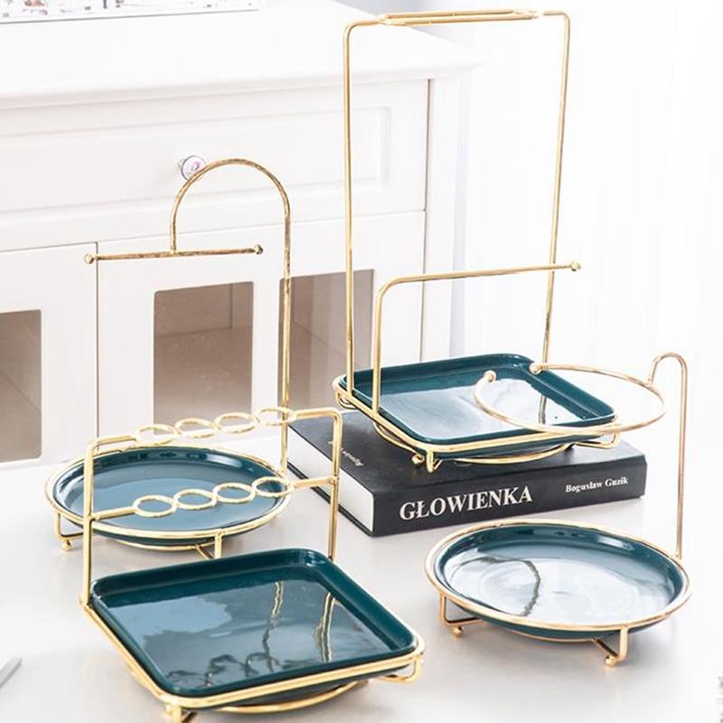 Nordic Creative Desktop Metal Jewelry Cosmetic Rack Dresser  Ceramic Tray Ring Storage Rack Lipstick Organizer Display Stand|Storage Holders & Racks| |  - title=