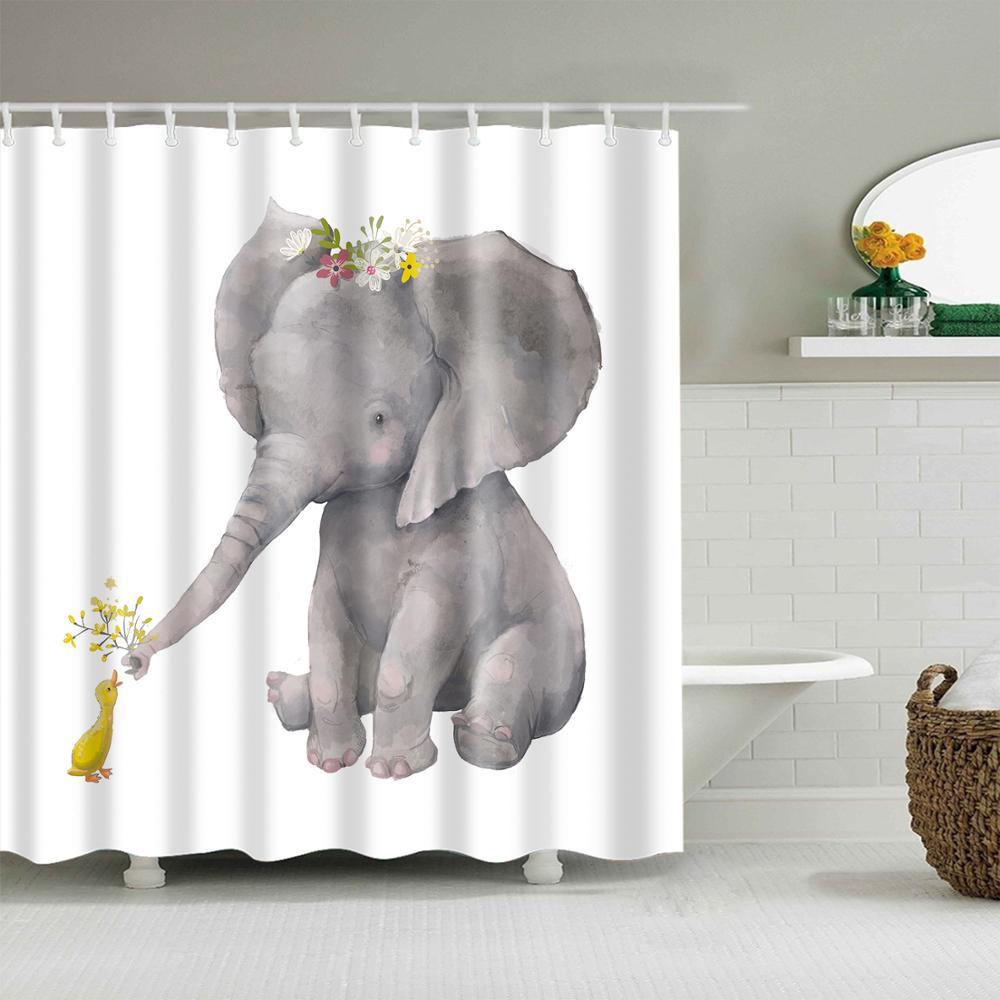 animals elephant shower curtain bathroom waterproof polyester shower curtain elephant printed curtains for bathroom shower