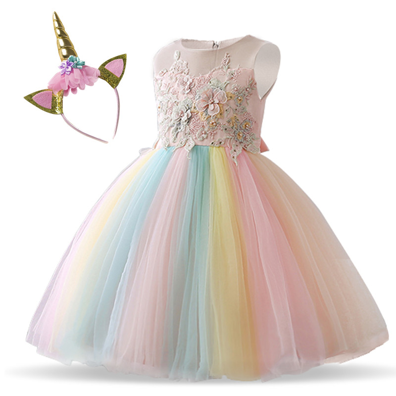 Fancy Unicorn Party Girl Dress Baby Kids Dresses For Girl 4 to 10 Years Wedding Gown