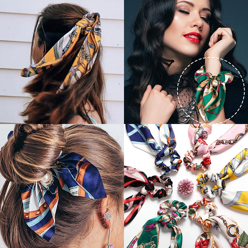Fashion Hair Scrunchies Jewelry Ponytail Holder Bow Elastic Hair Accessories For Women Scarf Bow Tie Hair Band Ribbon Headwear