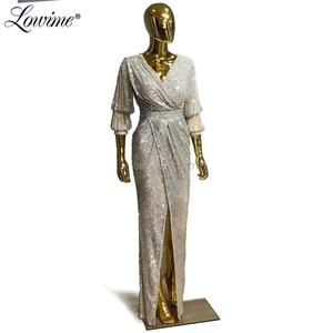 Image 3 - Vestidos De Fiesta De Noche siyah gümüş V boyun abiye pullu Kaftan kadın parti elbise 2020 ön bölünmüş yarık balo elbisesi