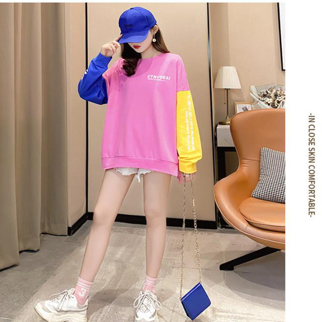 New ShowSplicing Sweatshirt Women's Casual Hooded Pocket Long Sleeve Pullover Sweatshirt Top Blouse For Female 1